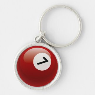 Number 7 Billiards Ball Keychain