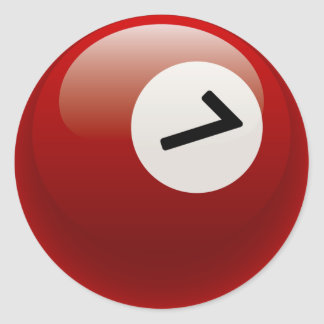 NUMBER 7 BILLIARDS BALL ROUND STICKER