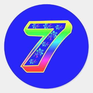 Number 7 Birthday Flower Stickers