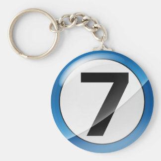 Number 7 Blue Key Chain