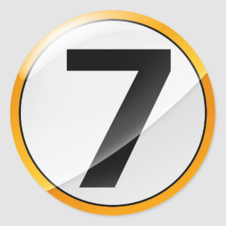 Number 7 gold classic round sticker
