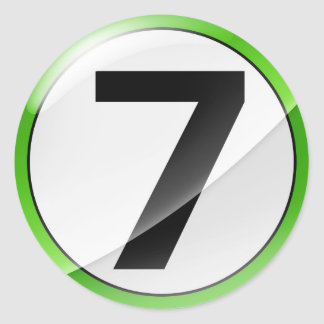 Number 7 green classic round sticker