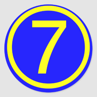 number 7 in a circle, blue background classic round sticker