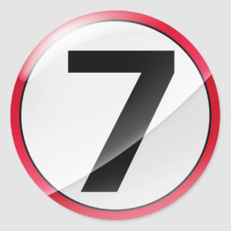 Number 7 red classic round sticker