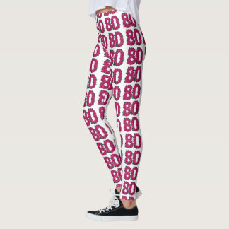 Number 80 leggings 80th birthday cute pink roses