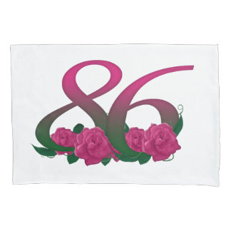 number 86 86th birthday pink rose pillow cover
