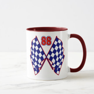 Number 88 and Checkered Flags Mug