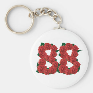 Number 88 floral basic round button keychain