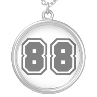 Number 88 silver plated necklace