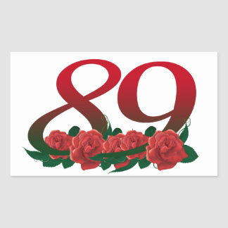 number 89 / 89th birthday red flowers floral