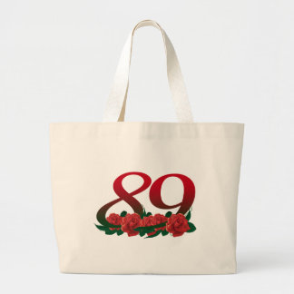 number 89 / 89th birthday red flowers floral large tote bag