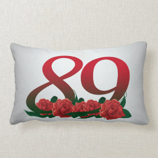 number 89 / 89th birthday red flowers floral lumbar pillow