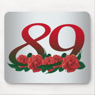 number 89 / 89th birthday red flowers floral mouse pad