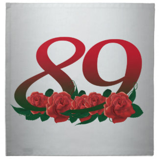 number 89 / 89th birthday red flowers floral napkin
