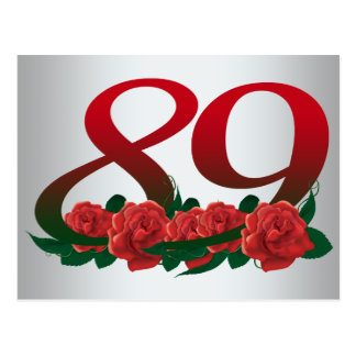 number 89 / 89th birthday red flowers floral postcard