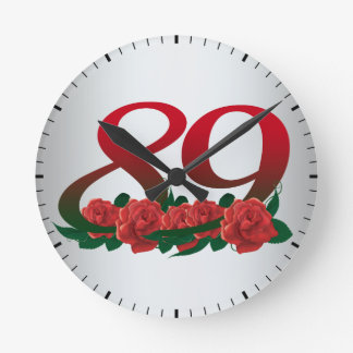 number 89 / 89th birthday red flowers floral round clock