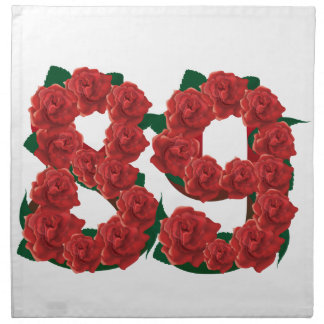 Number 89 or 89th birthday flower napkin