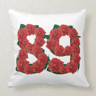 Number 89 or 89th birthday flower throw pillow