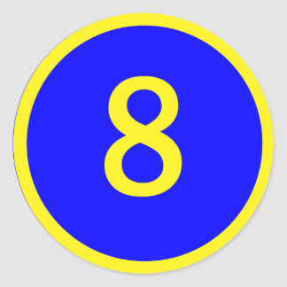 number 8 in a circle classic round sticker