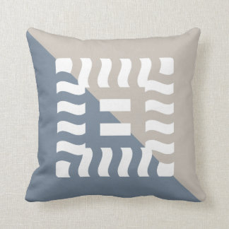 Number 8 reverse split light slate gray/taupe throw pillow