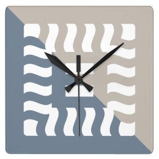 Number 8 split reverse light slate gray/taupe square wall clock