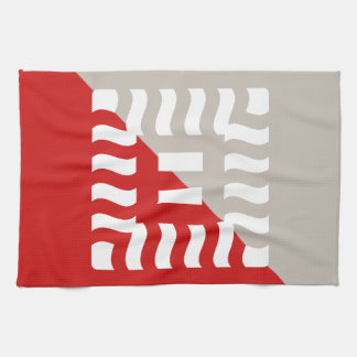Number 8 split reverse red/taupe kitchen towel