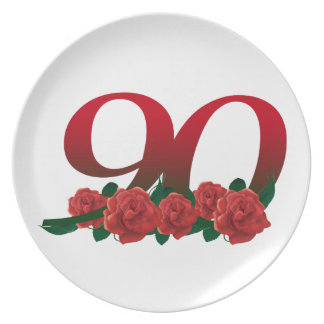 Number 90 or 90th birthday floral dinner plates