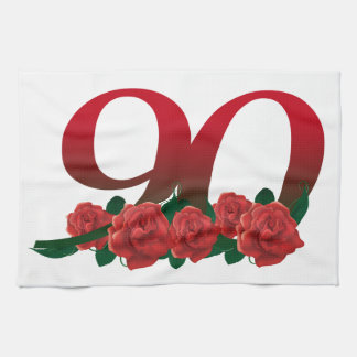 Number 90 or 90th birthday floral kitchen towel