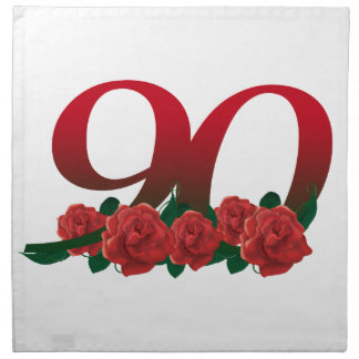 Number 90 or 90th birthday floral napkin
