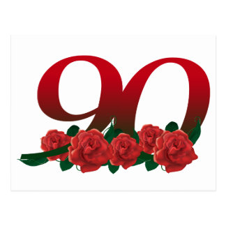 Number 90 or 90th birthday floral postcard