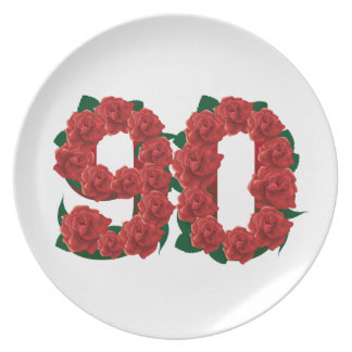 Number 90 or 90th birthday red roses dinner plates