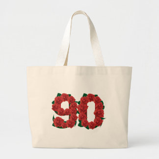 Number 90 or 90th birthday red roses large tote bag