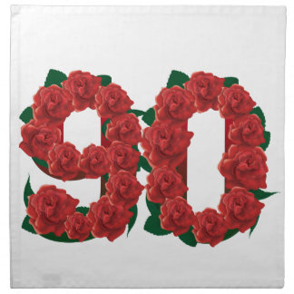Number 90 or 90th birthday red roses napkin