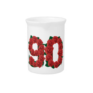 Number 90 or 90th birthday red roses pitcher