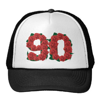 Number 90 or 90th birthday red roses trucker hat