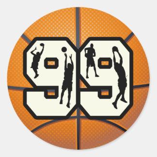 Number 99 Basketball Round Sticker