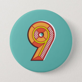 Number 9 Badge 3 Inch Round Button