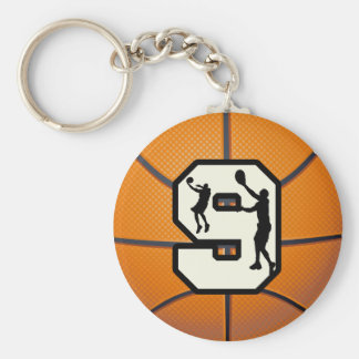 Number 9 Basketball and Player Basic Round Button Keychain
