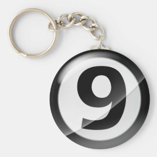 Number 9 black Key Chain