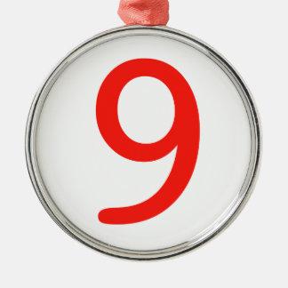 Number 9 metal ornament