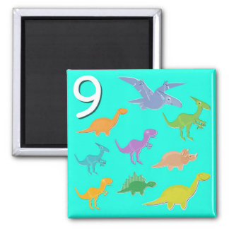 Number 9 Nine Dinosaurs Counting Magnet