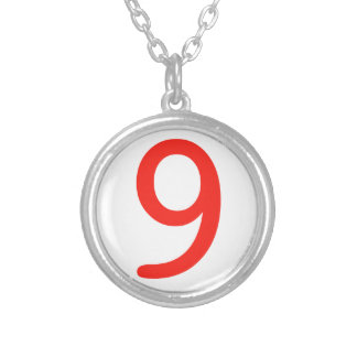 Number 9 silver plated necklace