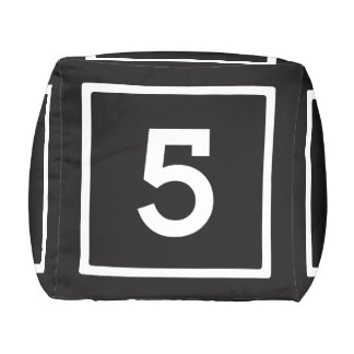 Number Dice Black and White Cube Pouf