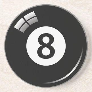 Number eight magic pool ball sandstone coaster