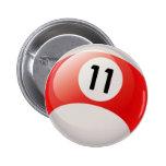 NUMBER ELEVEN BILLIARDS BALL 2 INCH ROUND BUTTON