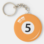 Number five pool ball keychain