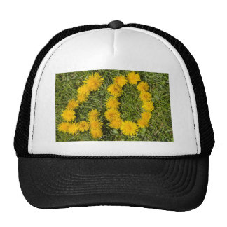 number forty drawn with dandelion on the lawn trucker hat