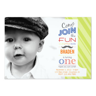 Number Fun MUSTACHE FIRST BIRTHDAY invitation