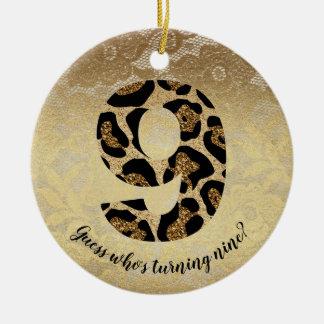Number Nine Leopard Glitter Glam Birthday Girl Ceramic Ornament