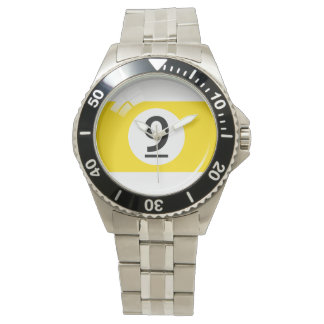 Number nine pool / billiard ball watch